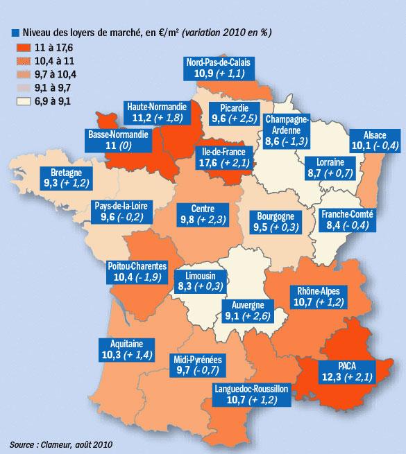 Location 2011 hausse du prix des loyers - Observatoire des loyers clameur ...